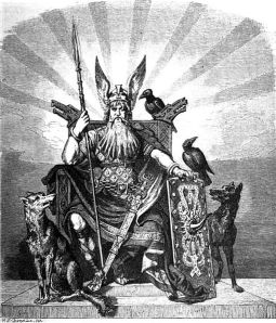 Odin enthroned with weapons, wolves and ravens.