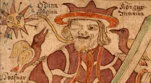 Huginn and Muninn sit on Odin's shoulders in an illustration from an 18th century Icelandic manuscript