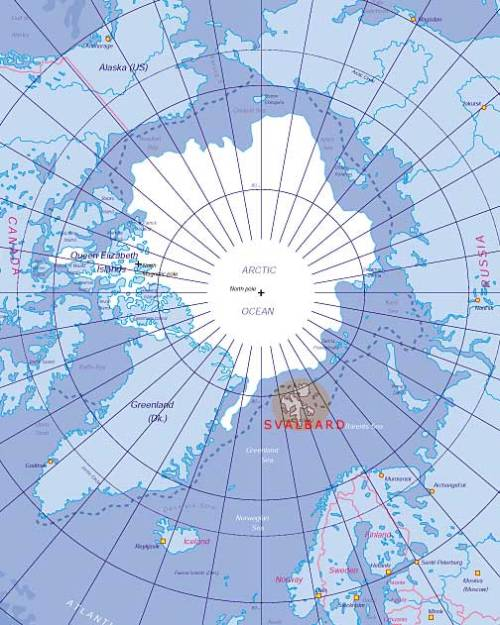 Map of the Arctic highlighting Svalbard