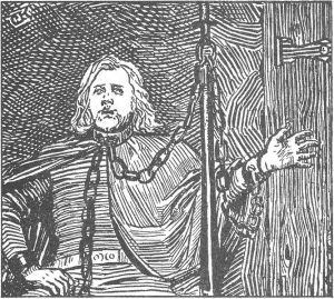 Bersi Skáldtorfuson composing poetry while in chains after being captured by King Óláfr Haraldsson. Christian Krohg's illustration from Heimskringla, 1899-edition.